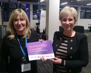 Picture of Joyce Gray, Deputy Director for Development, Alzheimer Scotland with Sally Magnuson at the launch
